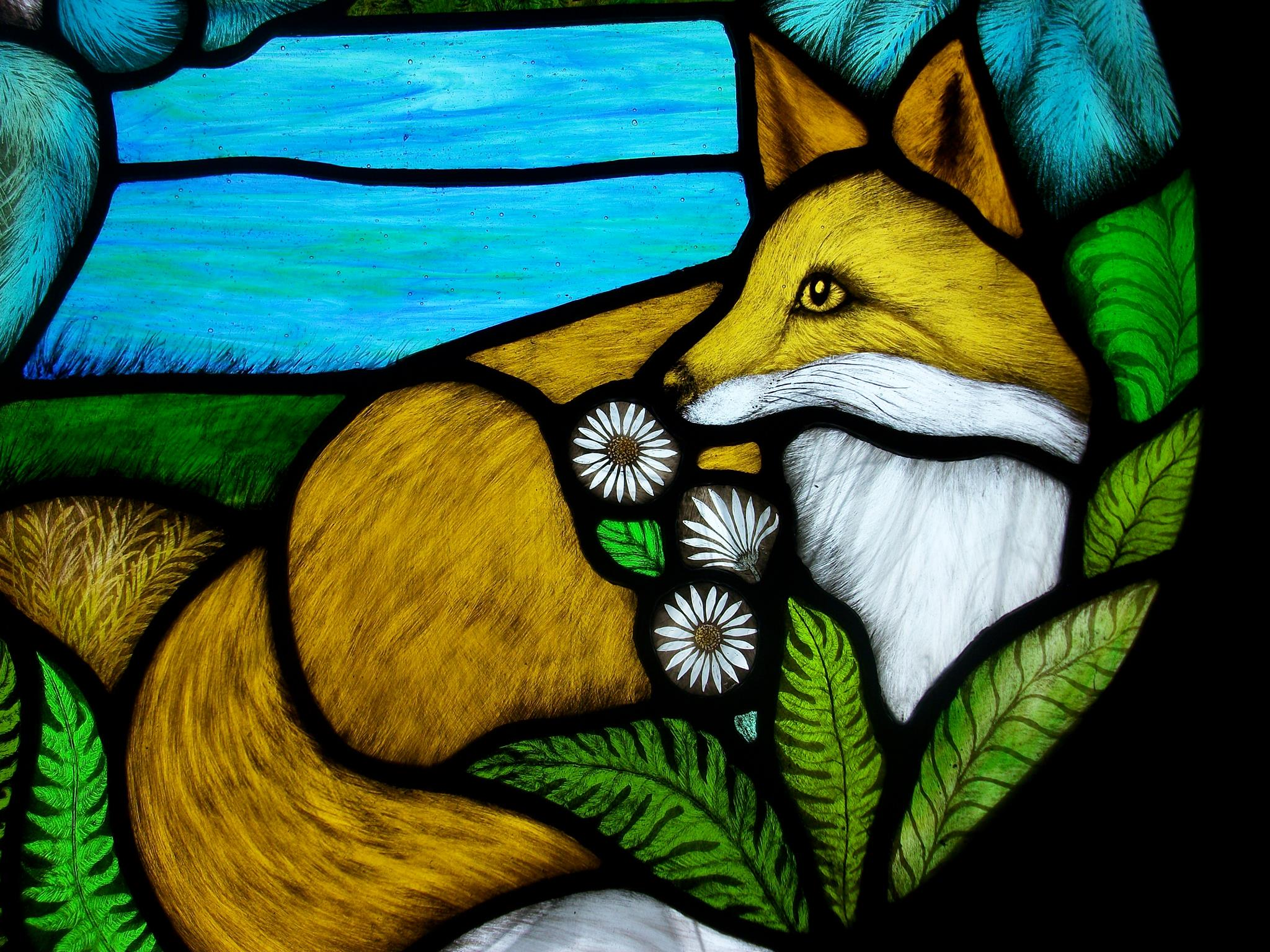 Wildlife Red Fox Stained Glass