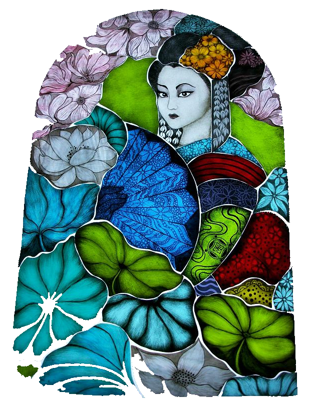 Geisha Girl Stained Glass