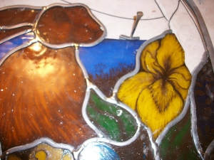 Stained glass Flowers around Mr Hare