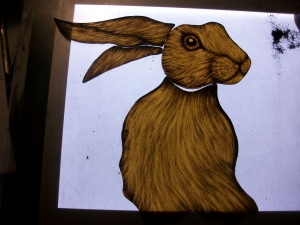 Mr Hare painted on glass