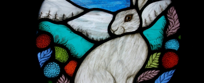 Stained Glass Winter Hare