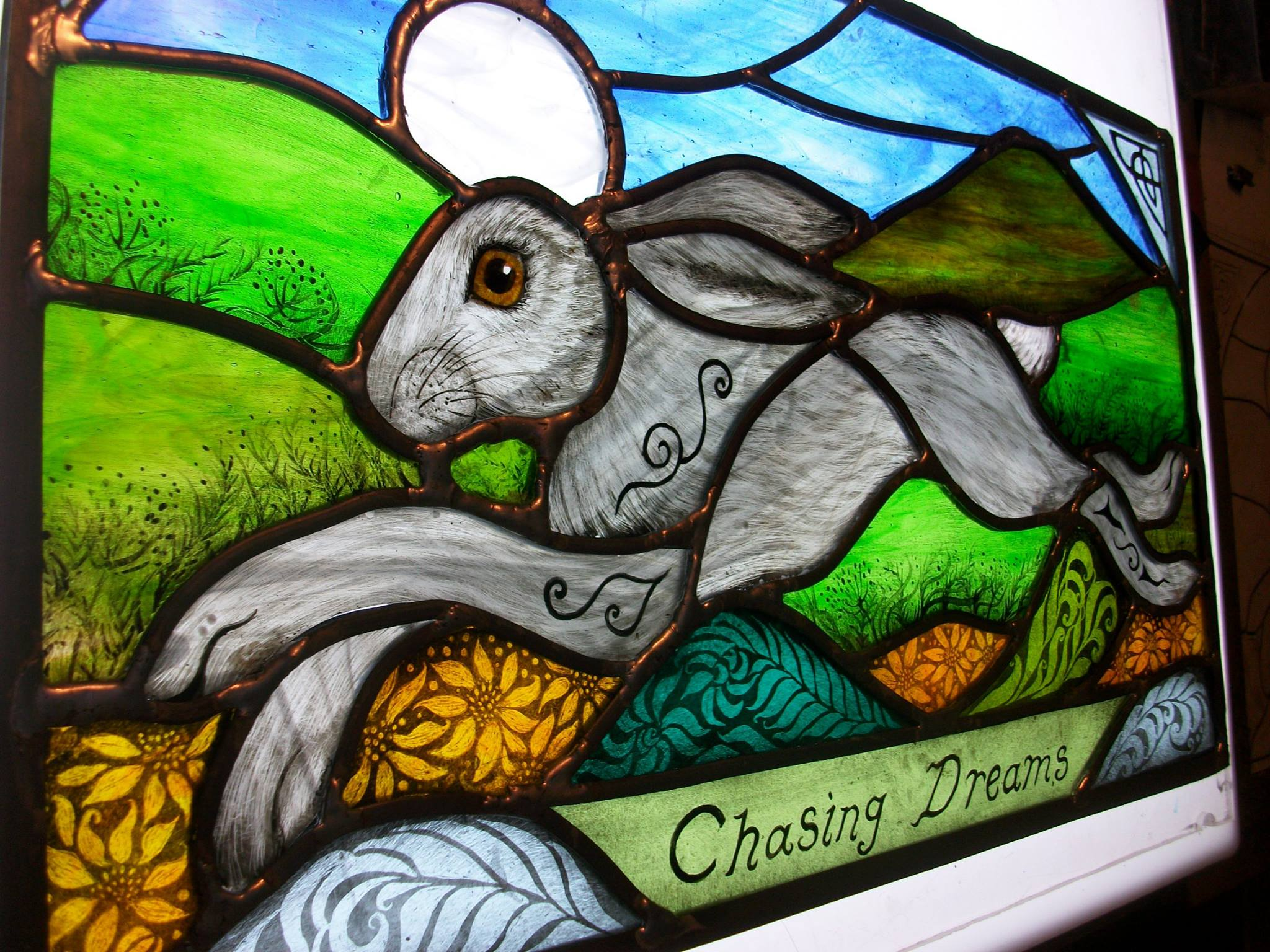 chasing dreams stained glass