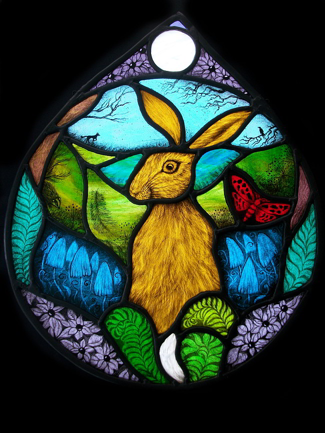Belladonna Hare glass panel